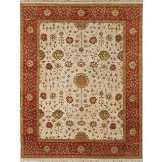 Hand Knotted Ziegler Beige Rust Vegetable Dyes Wool Rug (6' x 9')