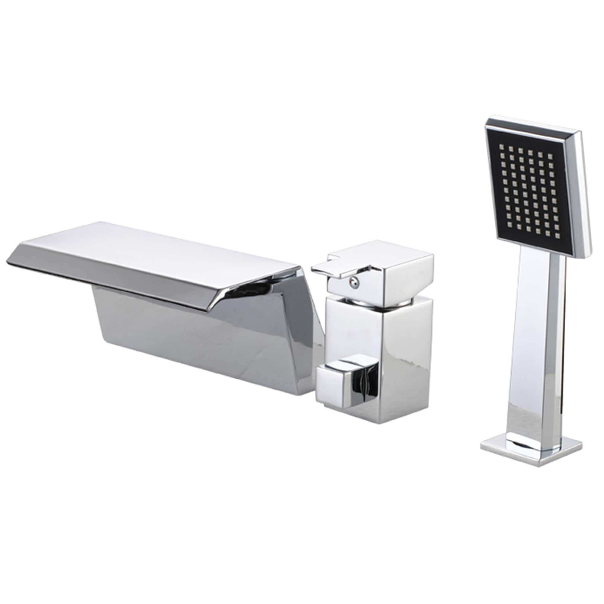 Sumerian Polished Chrome Single Handle Deck Mount Bath Tub Faucet Overstock 9147399