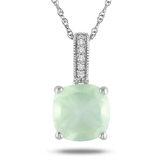 Miadora 10k White Gold 2 1/10ct TGW Prehnite and Diamond Accent Solitaire Necklace