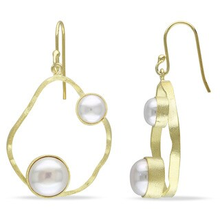 Miadora Yellow Plated Silver White Pearl Dangle Earrings (6-9 mm)