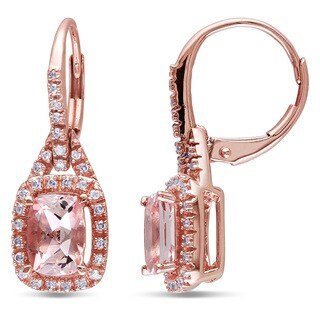 Miadora 10k Rose Gold Cushion-cut Morganite and 1/5ct TDW Diamond Earrings (G-H, I1-I2)