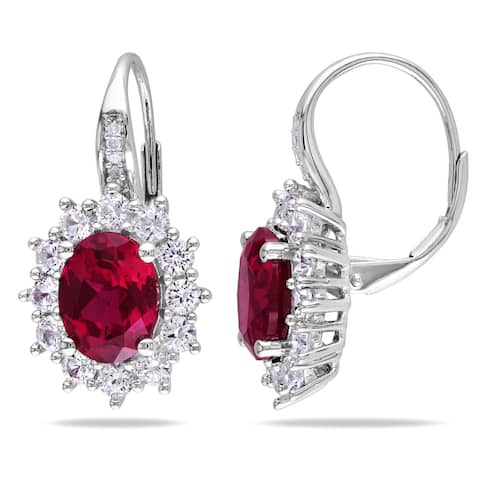 Miadora Silver Created Ruby and Created White Sapphire with Diamond Earrings