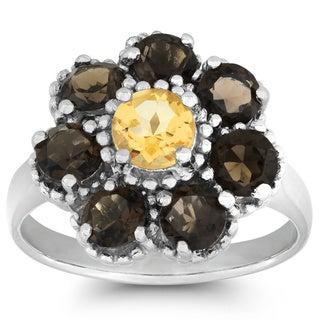 La Preciosa Sterling Silver Citrine, Smoky Quartz Flower Ring