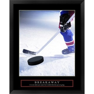 Handmade 'Breakaway-Slap Shot' Framed Art