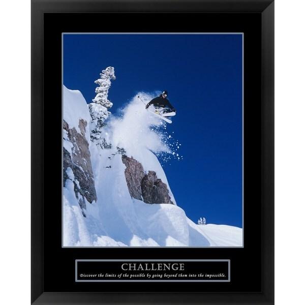 Handmade 'Challenge - Skier' Framed Art