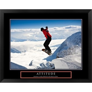 Handmade 'Attitude - Snow Boarder' Framed Art