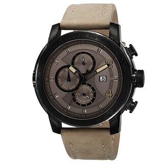 Akribos XXIV Men's Swiss Quartz Tachymeter Leather Strap Watch