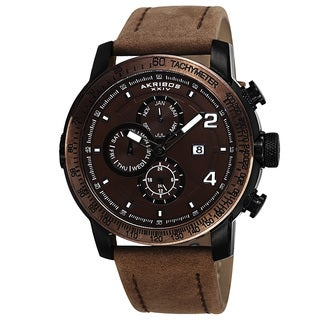 Akribos XXIV Men's Swiss Quartz Tachymeter Leather Brown Strap Watch