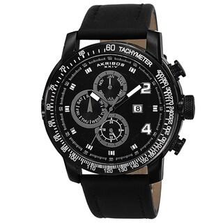 Akribos XXIV Men's Swiss Quartz Tachymeter Leather Black Strap Watch