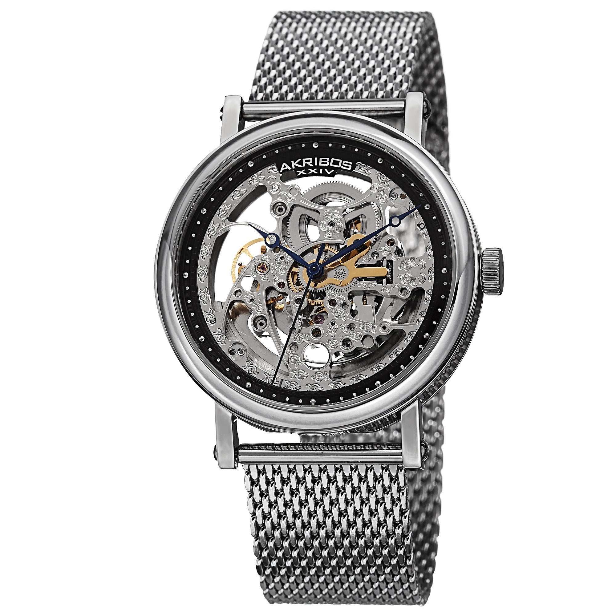 Akribos Xiv Men's Mesh Stainless Steel Automatic Silver-t...
