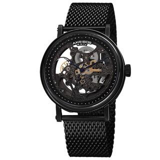 Akribos XIV Men's Mesh Stainless Steel Automatic Black Bracelet Watch