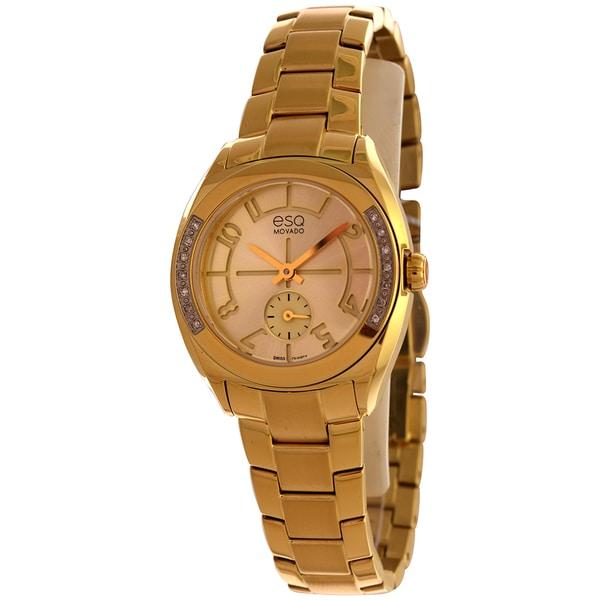 shop esq by movado women 39 s origin gold tone diamond watch. Black Bedroom Furniture Sets. Home Design Ideas