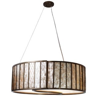 Varaluz Sustainable Shell Affinity Five Light Drum Pendant