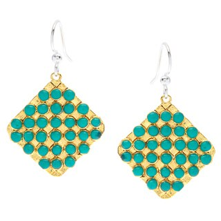 Biji Goldtone Aqua Bead Grid Dangle Earrings