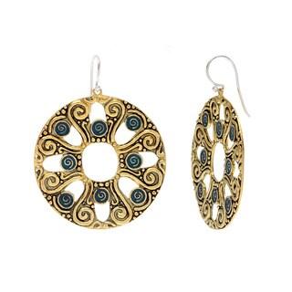 Atlantis Antiqued Goldtone/ Blue Resin Dangle Earrings