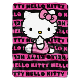 Hello Kitty Pink Royal Plush Raschel Throw Blanket
