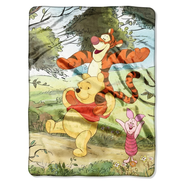 Winnie the Pooh Meadow Hike Royal Plush Raschel Throw Blanket - Free