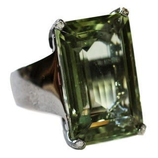 Sterling Silver 1/2ct TDW Diamond and Green Amethyst Cocktail Ring