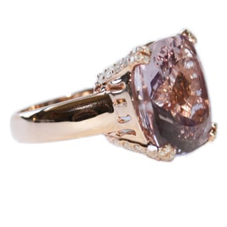 14k Rose Gold 3/4ct TDW Diamond/ Rose de France Diamond Cocktail Ring