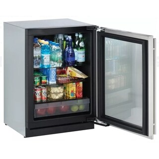 "U-Line U-3024RGLS-01 24"" 3000 SERIES CONVECTION COOL GLASS DOOR REFRIGERATOR STAINLESS LHH"