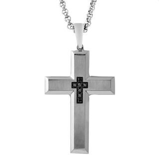 Men's Stainless Steel 1/6ct TDW Black Diamond Cross Pendant (I1-I2)