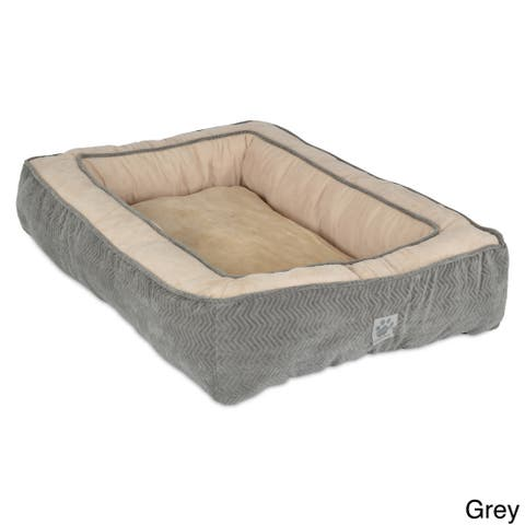 SnooZZy Chevron Texture Rectangle Bolster Pet Bed