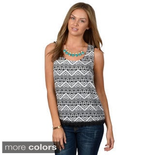 Hailey Jeans Co. Junior's Sleeveless Crochet Hem Top