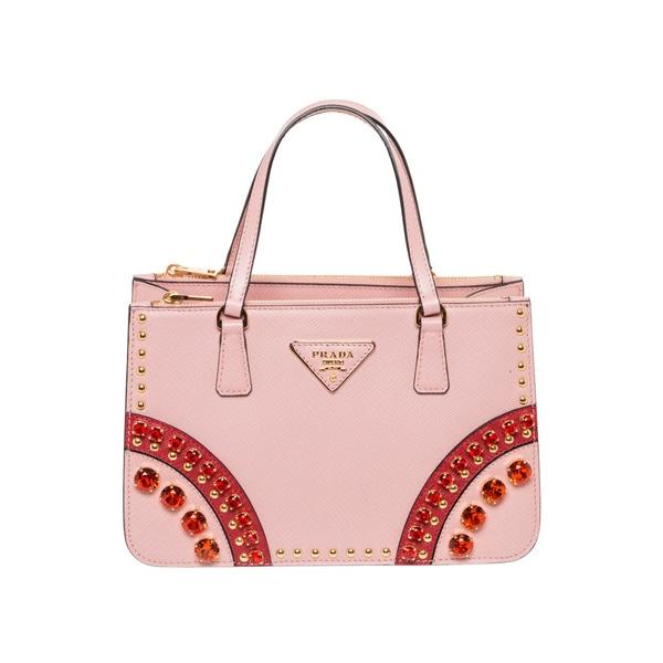 Prada Saffiano Pink Leather Embellished Mini Tote