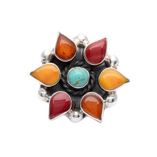 Sterling Silver Aztec Red/ Green and Orange Kingman Turquoise Pendant