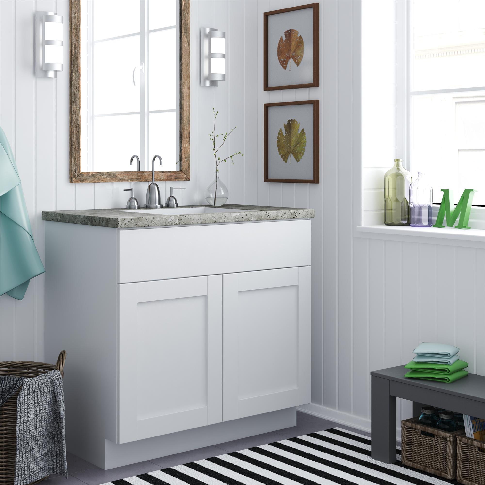 White Shaker Style Bath Vanity Cabinet