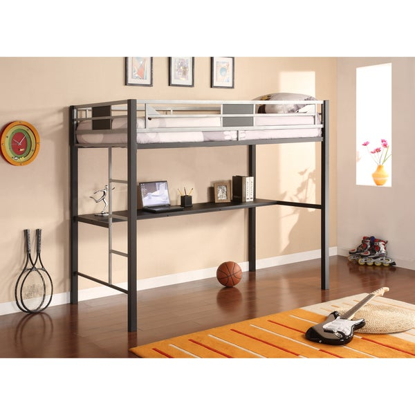 dhp silver screen metal twin size loft bed free shipping today overstock 16328336. Black Bedroom Furniture Sets. Home Design Ideas