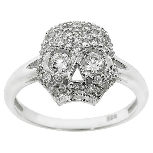 Eternally Haute Sterling Silver Cubic Zirconia Pave Pirate Skull Ring