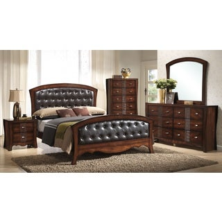 Picket House Jansen 5 Piece Medium Espresso Faux Leather Bedroom Set