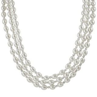 Pearls For You Sterling Silver White Pearl and Diamond-cut Bead Triple Strand Necklace (6-7 mm)