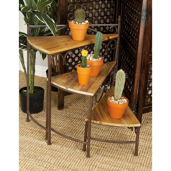 Traditional 26 Inch Rotating Stair Step Planter Stand By Studio 350
