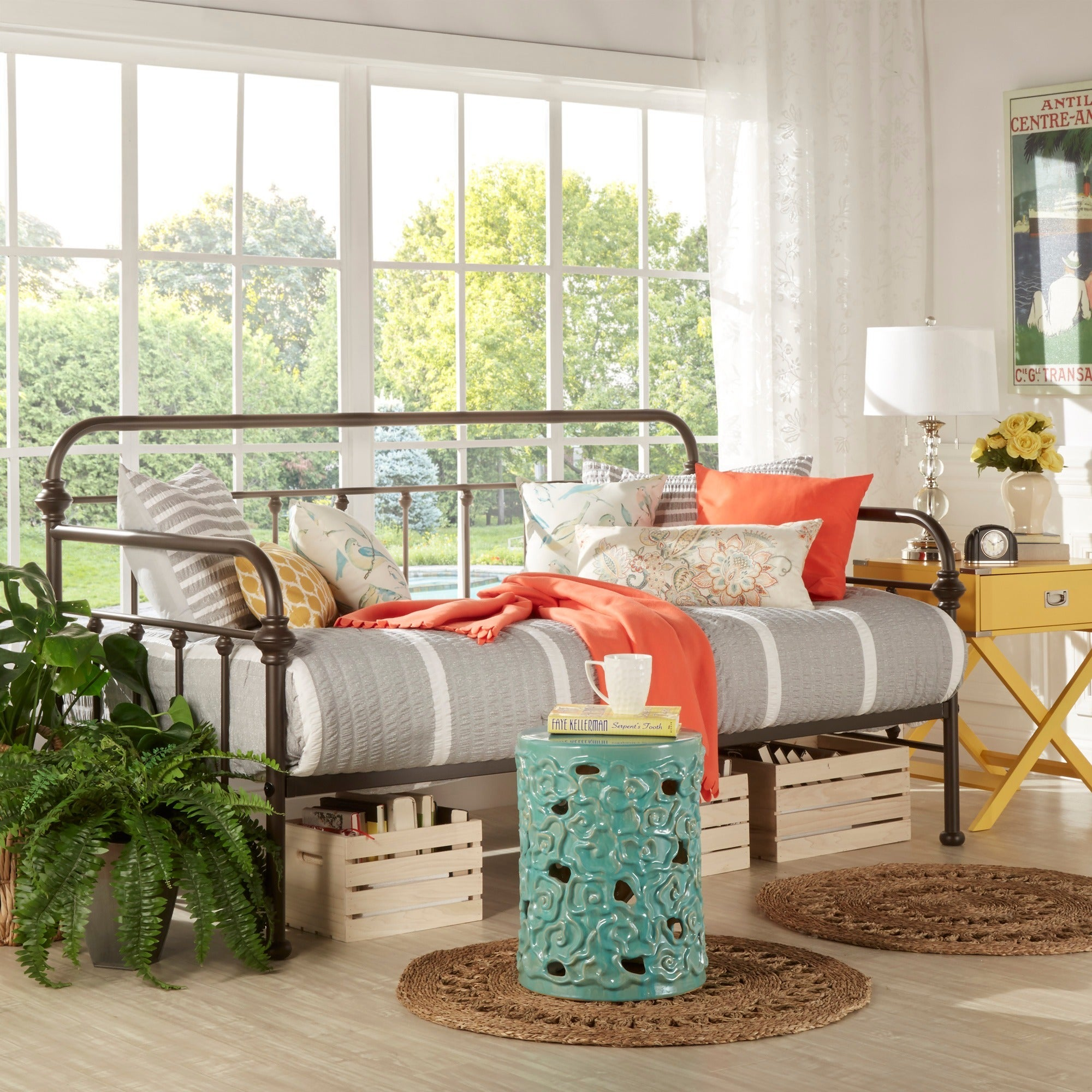 Giselle Antique Graceful Lines Iron Metal Daybed by iNSPI...