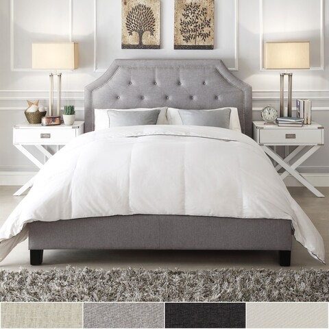 Grace Queen-size Button Tufted Arched Bridge Upholstered Bed by iNSPIRE Q Bold