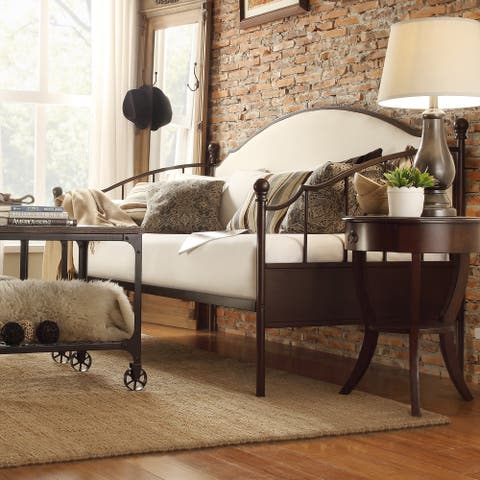 Andover Upholstered Curved Top Cherry Brown Metal Daybed by iNSPIRE Q Classic