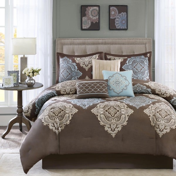 Shop Madison Park Barnett 7 Piece Cotton Damask Comforter