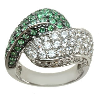 Michael Valitutti Sterling Silver Green and White Cubic Zirconia Ring