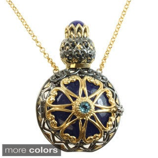 """Michael Valitutti Two-tone Red and Blue Quartz, Lapis, Blue Topaz And Sapphire Reversible """"Perfume Bottle"""" Necklace"""