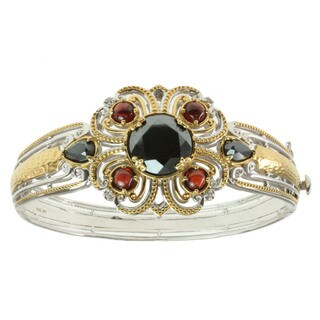 Michael Valitutti Two-tone Hematite, Garnet and White Sapphire Bracelet