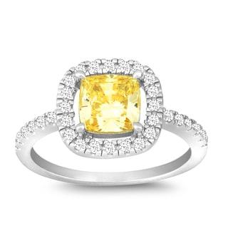La Preciosa Sterling Silver Yellow and White Cubic Zirconia Square Ring