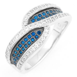 La Preciosa Two-tone Sterling Silver White/ Brown Micro Pave Cubic Zirconia Ring