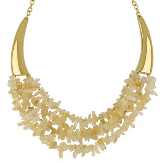 Roman Goldtone Champagne Quartz Crystal Bib Statement Necklace