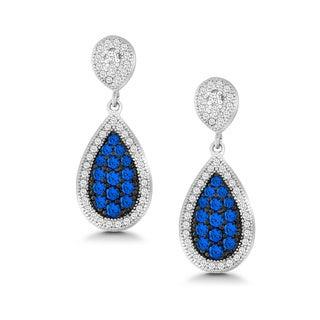 La Preciosa Sterling Silver Blue/ White Micro Pave Cubic Zirconia Teardrop Earrings