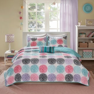 Mi Zone Audrina Purple Mini Printed Reverseable Coverlet Sete