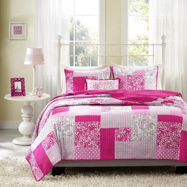May Pink Reversible Coverlet Set by Mi Zone. Opens flyout.