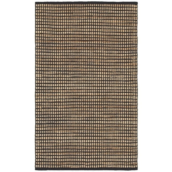 LR Home Natural Fiber Black Striped Area Rug - 8' x 10'