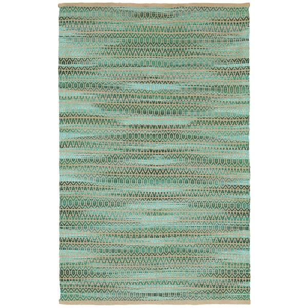 LR Home Natural Fiber Green Abstract Area Rug ( 9' x 12' ) - 9' x 12'